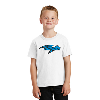 CHARLOTTE THUNDER AAL YOUTH T-SHIRT:  WHITE