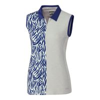 Annika Print Mix Sleeveless Polo - Crystal Heather