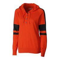 Kate Hooded Henley Sweater - College Orange