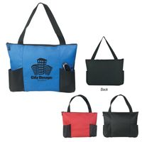 Double Pocket Zippered Tote Bag (Embroidered)