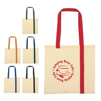 Striped Economy Cotton Canvas Tote Bag (Silk-Screen)
