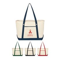 Large Cotton Canvas Sailing Tote Bag (Embroidered)