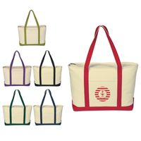 Large Heavy Cotton Canvas Boat Tote Bag (Embroidered)