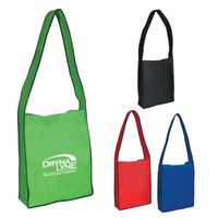 Non-Woven Messenger Tote Bag With Hook And Loop Closure (Silk-Screen)