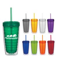 16 Oz. Econo Double Wall Tumbler With Lid And Straw